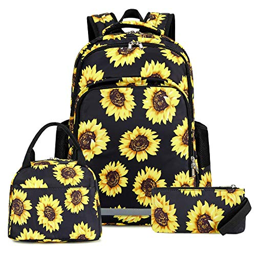 Sunflower Backpack Girls Floral School Bookbag Cute 3 in 1 Backpack Set with Insulated Lunch Box and Pencil Case (Sunflower 3 Pieces - Black)