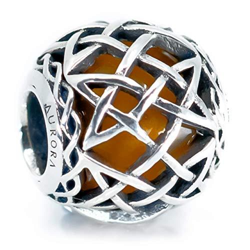Celtic Amber Murano Glass & Sterling Silver Bead, Irish Celtic Eternal Knot Charm S925, Irish Celtic Eternal Knot Silver Charm Bead, Charm Jewelry, Pandora compatible charm
