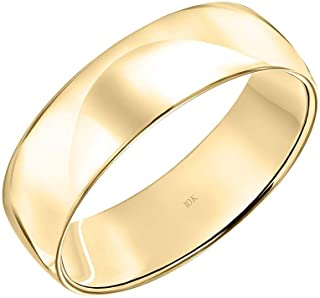Men's 10K White or Yellow Gold 6MM Classic Plain Simple...