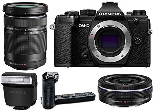 Olympus OM-D E-M5 Mark III Mirrorless Digital Camera Body, M.Zuiko Digital ED 14-42mm f/3.5-5.6 EZ Lens, M.Zuiko Digital ED 40-150mm f/4-5.6 R Lens (Black) and Olympus ECG-5 External Grip