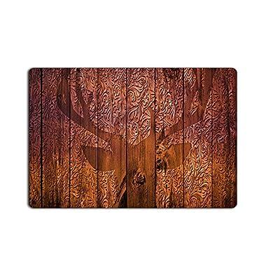 KAROLA Entrance Rug Door Mat Super Effective Shoe Scraper Fabric Wooden Carved Deer Design Indoor and Outdoor Doormat