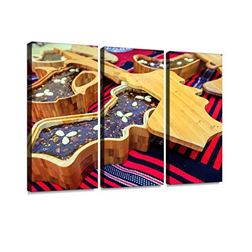 BELISIIS Omani halwa halvas and Pictures Wall Artwork Exclusive Photography Vintage Abstract Paintings Print on Canvas Home Decor Wall Art 3 Panels Framed Ready to Hang