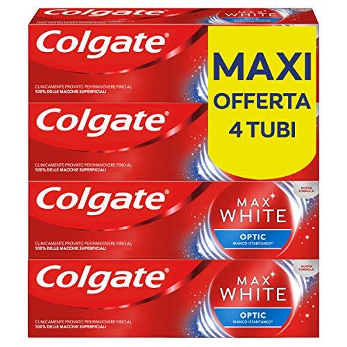 Colgate Dentifricio Sbiancante Istantaneo Max White Optic, Clinicamente Provato per Rimuovere Fino al 100% delle Macchie Superficiali, 4 x 75 ml
