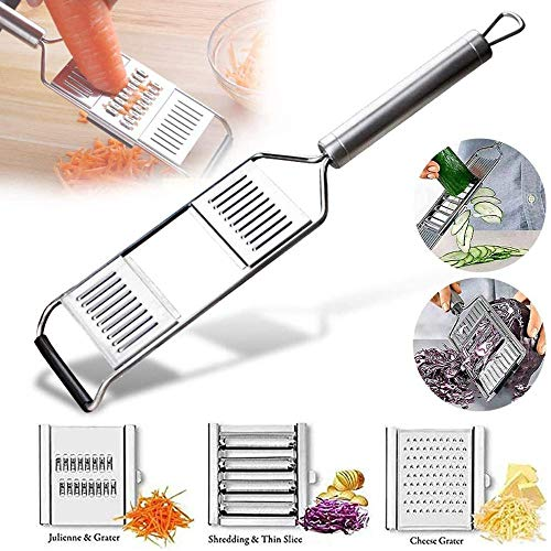 Multi-Purpose Vegetable Slicer, Portable Stainless Steel Shredder Cutter Grater Slicer, Multifunction Handheld Grater Adjustable Kitchen Tool for Onion Vegetable Fruit