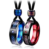 Aienid Her King His Queen Necklace Set for Couples Necklace Women Men Tungsten Rings 8MM Celtic Blue Red