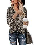 Yidarton Women's T Shirt Leopard Print Tops 3/4 Sleeve Casual Cotton V-Neck Cute Blouse(Leopard-3/4 Sleeve-v-Neck,Medium)