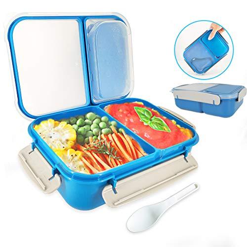 Tapusen Schichtung Versiegelte Auslaufsichere Bento-Brotdose Mit 2 Fächern, quadratische Brotdose aus Kunststoff, tragbares Besteck, luftdichte Vorratsbehälter für Lebensmittel mit Löffel (Blau)