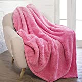 PAVILIA Plush Sherpa Throw Blanket for Couch Sofa | Fluffy Microfiber Fleece Throw | Soft, Fuzzy, Cozy, Shaggy, Lightweight | Solid Pink Blanket | 50 x 60 Inches