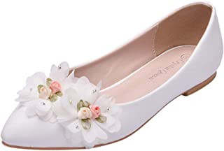 ♫Loosebee♫ Women's Wedding Shoes Slip-On Flat Pointed Toe Pumps Dress Stitching Lace/PU Pearl Fashion Single Shoes