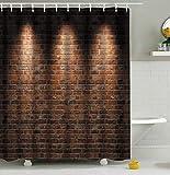 Furnily 3D Duschvorhang Lebhafte Rote Backsteinmauer Polyester wasserdichter Form Badezimmer-Vorhang
