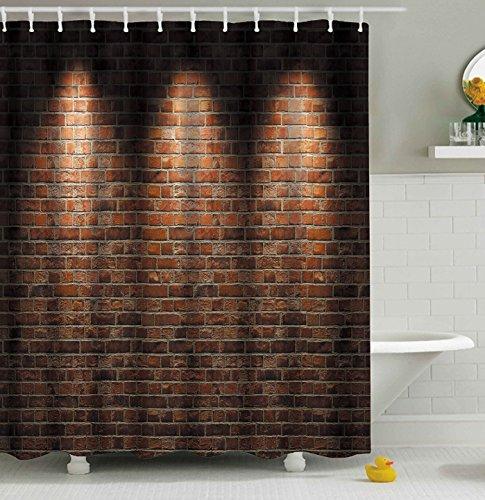 Aonewoe 3D Duschvorhang Lebhafte Rote Backsteinmauer Polyester wasserdichter Form Badezimmer-Vorhang