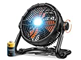 Outdoor Floor Fan with Light, 14400mAh 12-Inch High Velocity Battery Operated Powered Fan, Cordless Industrial Fan, Portable Rechargeable Fan with Powerbank, for Garage, Barn, Gym, Camping, Travel