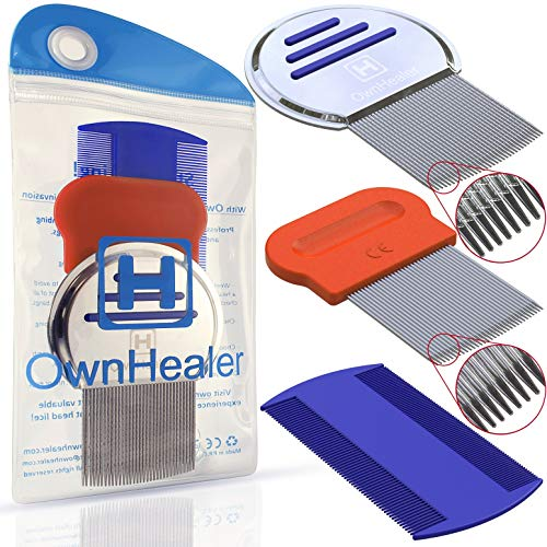 OwnHealer [Pack of 3] Head Lice Comb Metal - Fast Nit and Lice Remover for Thick and Thin Hair.