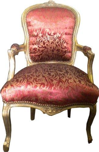 Casa Padrino Barock Salon Stuhl Bordeaux Muster/Gold