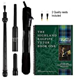 RG Hardie Bagpipe Twist Trap Practice Chanter, National Piping Center of Scotland Tutor Book with 2 Quality Scottish Reeds Breathable Case