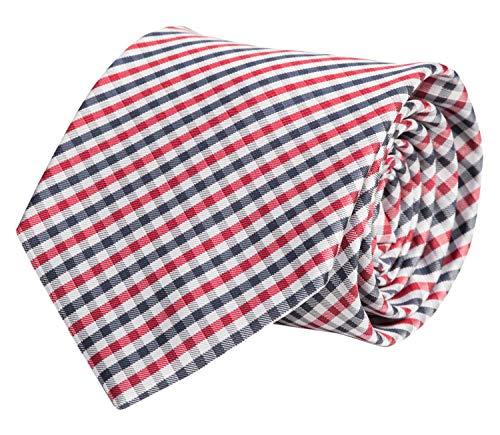 Fabio Farini Fabio Farini - Elegante Herren Krawatte kariert in 8cm Breite in verschiedenen Farben für jeden Anlass wie Hochzeit, Konfirmation, Abschlussball Rot Weiß Dunkelblau