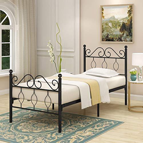 Jurmerry - Estructura de cama de metal con cabecero y pie de cama resistente, color negro