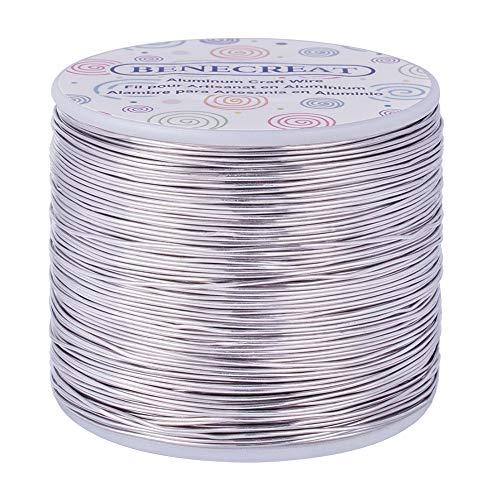 BENECREAT 235m 0.8mm Filo di Alluminio Articoli Artigianali Filo di Alluminio Colore Primario Non scolorente per la Produzione di Gioielli e Artigianato Calibro 20