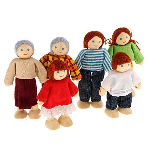 PUPPENHAUS PUPPENSTUBE 6 PUPPEN FAMILIE BIEGEPUPPEN HOLZ WOODY Holzspielzeug