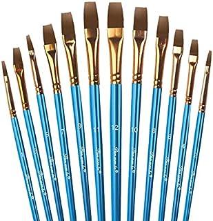 12tlg Pinselset Plat Pinceau Pinceau Artiste Modélisme Malset peindre peinture bois