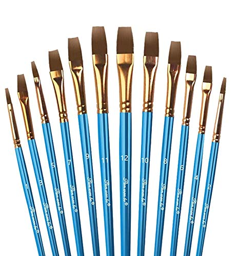 12 Pezzi Pennelli Pittura, Set Pennelli Pittura Nylon Artista Pennello Acrilico Set di Pennelli per Pittura Acrilica e Pittura Ad Olio in Nylon (Piatto)