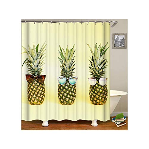 AmDxD Duschvorhang aus Polyester  3D-Druck Ananas Tragen Sonnebrille Muster Design Badewanne Vorhang Badewannenvorhang   Hell Grün   mit 12 Duschvorhangringen für Badewanne Badezimmer - 180x180CM