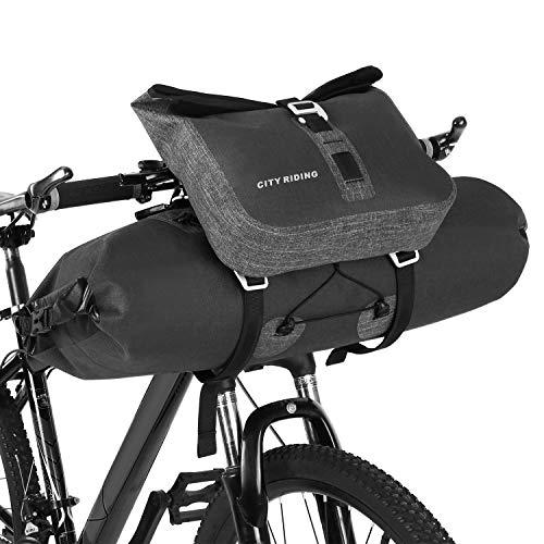 Festnight Impermeable 2 en 1 Conjunto de Bolsa de Manillar de Ciclismo de Gran Capacidad MTB Road Bike Bicicleta Delantera Bolsa de Bolsa Alforja