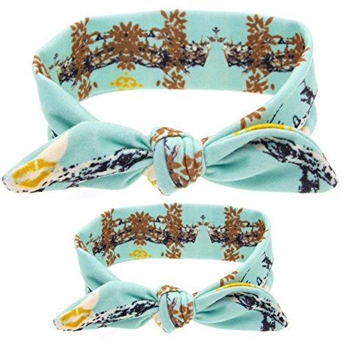 CHIC-2 Pièces Mère et Bébé Bandeau de Cheveux Lapin Oreille Tartan Nœud Papillon Bowknot Mignon Déguisement Elastique (Bleu Floral)