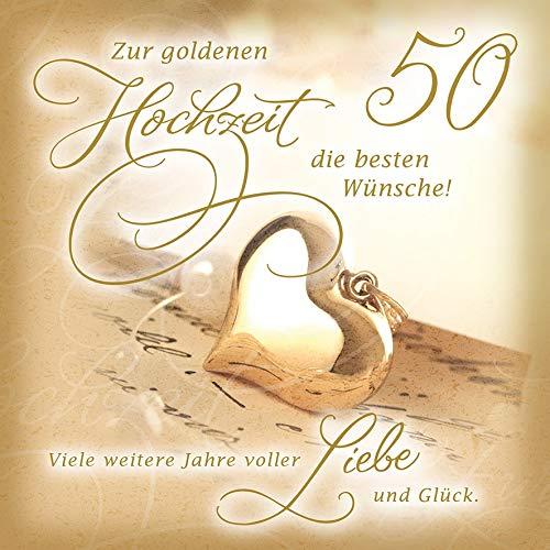 Karte zur Goldhochzeit Romantica - Goldherz - 15 x 15 cm