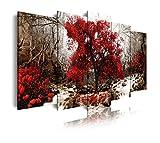 DekoArte 258 - Cuadro moderno en lienzo 5 piezas paisaje bosque con árbol rojo en fondo ocre, 150x3x80cm
