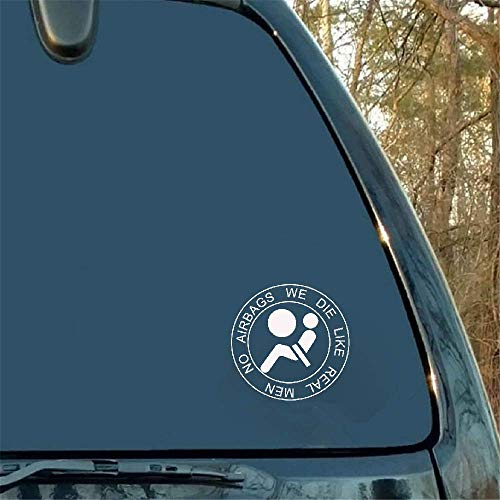 13 x 13 cm Geen airbags Wij sterven als echte mannen grappige autosticker brandstoftank sticker voor Toyota Highlander Peugeot Mitsubishi Jaguar