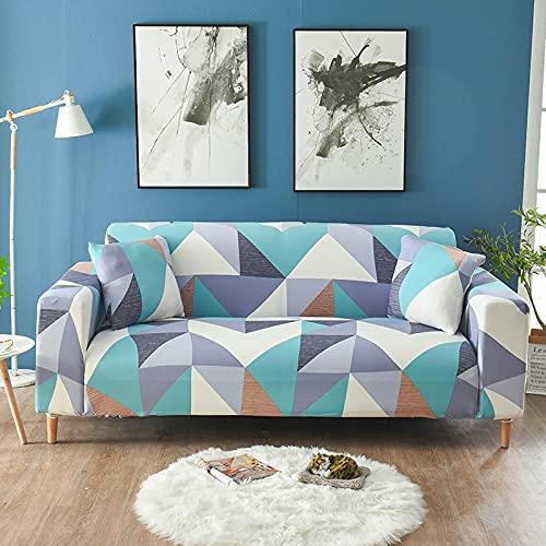 WXQY Funda de sofá elástica de Esquina Funda de sofá geométrica elástica Funda de sillón reclinable en Forma de L Funda de sofá Todo Incluido Antideslizante A9 3 plazas