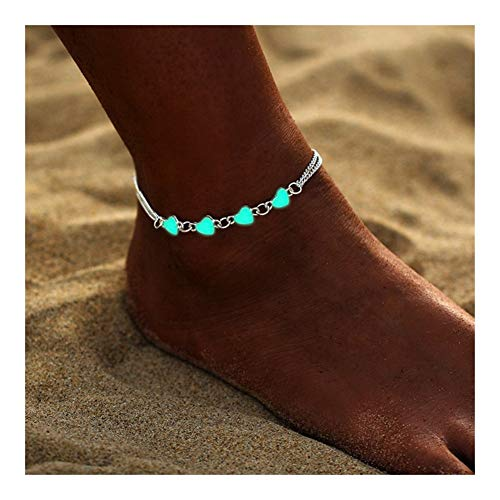 WENAN Anklet Regalo del Partido Luminosa Corazón Colgante de la Mujer for el Tobillo Hermosa joyería de la Pulsera del pie Mujer Pulgar (Color : BJOV254)
