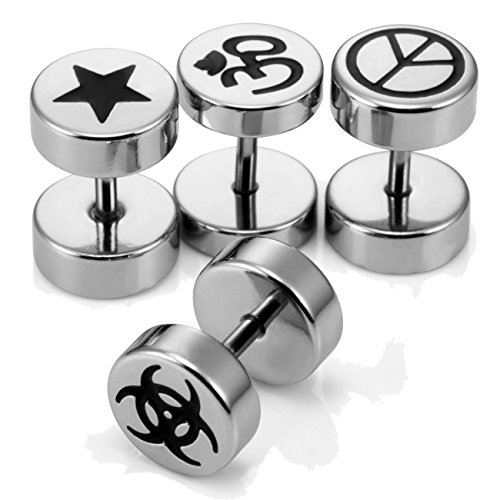 Unisex Black and Silver 316L Stainless Steel Barbell Stud Earrings Set - Includes 4 Pairs of Barbell Studs with Om, Radioactive, Peace Sign and Star Designs - Earrings for Men, 8mm