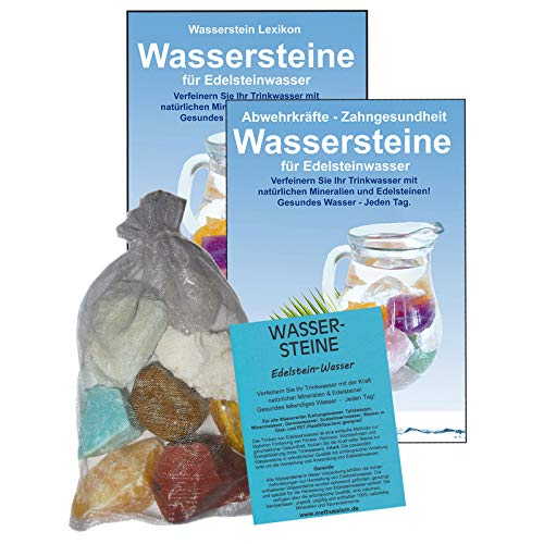EDELSTEINE für WASSER MAGEN & DARM 4-tlg SET. 300g WASSERSTEINE zur Wasseraufbereitung für Trinkwasser + Anleitung Wasser-Energetisierung + Booklet + Zubehör. 90043