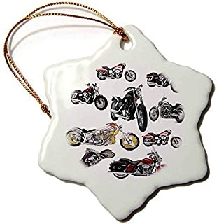 weewen Ornament Picturing Harley Davidson and No.174 Motorcycle Snowflake Porcelain Ornament Decorative Xmas Ornament 2018 Farmhouse Collectible Keepsake