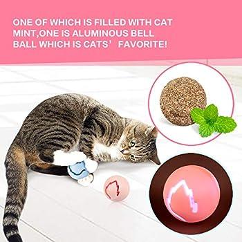 Pecute Jouet Chat 2 en 1 Jeux Labyrinthe Balle Jouet 4 Couches Jouet pour Chat avec l'herbe à Chat, Clochettes et Souris Queue (Rose)