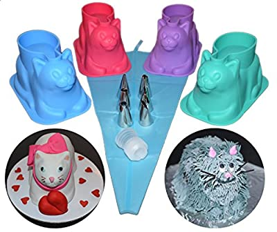 4 pack 3D Cat Silicone Cupcake Mold with Decorating Kit – For Chocolate, Jello, Ice, Soap. Unique Gift for Cat Lovers and Bakers