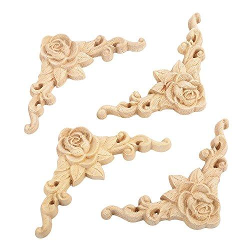 SODIAL 10 pz floreale in legno intagliato decal angolo applique decorare cornice in legno figurine gabinetto artigianato decorativo