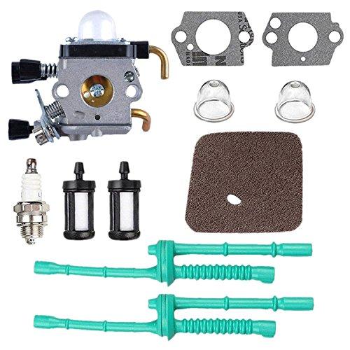 poweka C1Q-S97carburador con filtro de aire manguera de gasolina para desbrozadora Stihl FS38FS45FS46FS55KM55HL45FS45L FS45C FS46C FS55C FS55R FS55RC