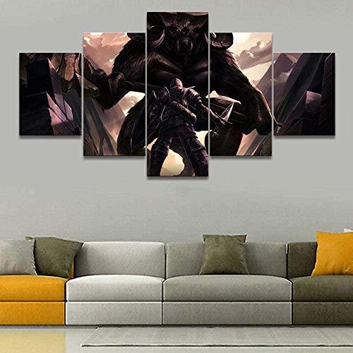 5 piezas cuadro en lienzo Cuadro compuesto por 5 lienzos impresos en HD, utilizados para decoración del hogar y carteles Juego Soul Demon (150x80cm sin marco)