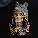 BXU-BG Figuras Estatuilla Estatua Estatuilla Estatuilla Arte Decorativo Indígenas Americanos Lobo Tótem Cráneo Escultura Arte