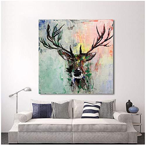 Keliour Wand dekorative Leinwand Kunst Tier Ölgemälde Leinwand abstrakt Bunte Hirsch Wandbilder für Wohnzimmer Home Decor -50x50cm Kein Rahmen