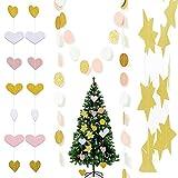 CAILI 3pcs Adorno navideño arbol,Decoraciones de Navidad,Guirnalda de Papel,Glitter Estrella de Cinco Puntas Círculo En Forma de Corazón Pancarta Colgante
