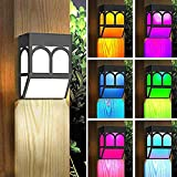 CAMPSLE Apliques LED, Valla Solar RGB Luz Exterior Apliques de Pared Exterior Aplique Moderno Impermeable Apliques de Jardín Aplique de Iluminación de Pared Exterior - [4 PCs]
