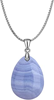 925 Blue Lace Agate Teardrop Pendant Necklace Healing Waterdrop Stone Crystal Chakra Protection Rock