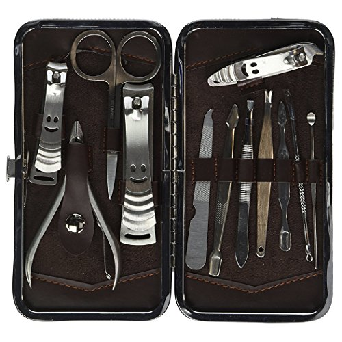 Xubox Manicure Pedicure Kit, Professional Stainless Steel Nail Clipper Travel & Grooming Kit Feet, Hand & Nail Tools Manicure & Pedicure Set of 12 All in One Beauty & Personal Care with Travel Case