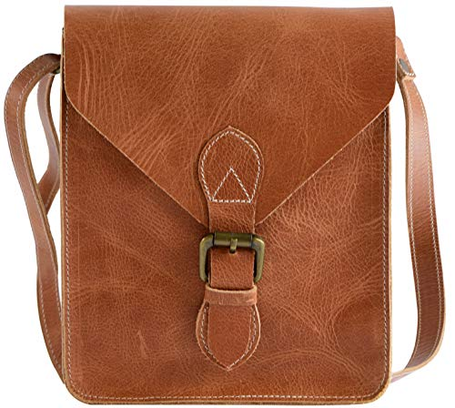 Hide N Craft Full Grain Genuine Leather Crossbody Bag for Men and Women Crossover HandBag, Mini Shoulder, Vintage with Adjustable Strap, Unisex Purse (8.5x10x3.5 inches) - Brown