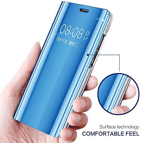 Kompatibel für Huawei Y7 2018 Hülle, Spiegel Hülle Flip Case für Huawei Honor 7C Handy Schutzhülle [Ständer] Dünn Clear View PC Plastik Hard Cover Handyhülle (Blau, Huawei Y7 2018/Honor 7C) - 3