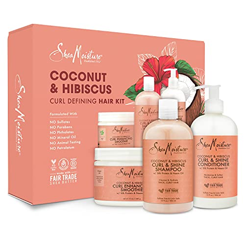 SheaMoisture Shampoo, Conditioner and Curl Enhancing Smoothie Gifts for Women, Girlfriends, Moms, Great Beauty Gift Set for Birthday Gifts, Christmas Gifts Curl and Shine Sulfate Free 38 oz 3 Count